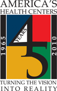 Health Center 45 year anniversary logo