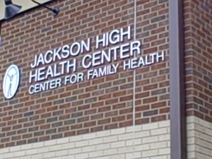 Jackson High Health Center sign