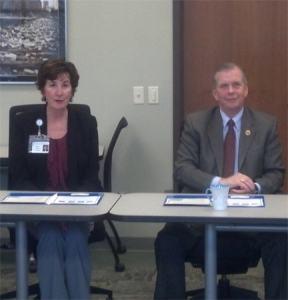 Congressman Tim Walberg visited Center for Family Health in Jackson on February 18, 2013. He is seated next to Center for Family Health CEO Molly Kaser.