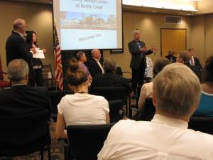 Contributed Photo. Michigan Governor Rick Snyder visits Family Health Center of Battle Creek to speak with group about Medicaid expansion and reform.